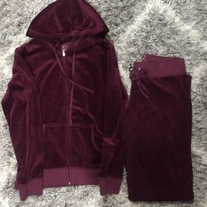 S Burgundy New York and Company Velour Jumpsuit